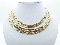 Vintage 60s Amazing 5 Row Goldtone Sparkle Chain Graduating Necklace 45cms