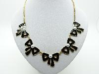 £14.00 - Vintage Inspired Black Enamel Bow and Faux Pearl Bead Goldtone Necklace