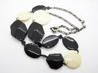 Stylish and Contemporary Black and Cream Plastic Bead Metal Chain Necklace