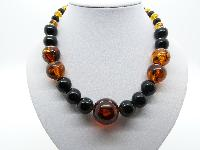 Vintage 50s Chunky Black and Amber Coloured Plastic Lucite Bead Necklace