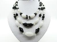 Vintage 50s Stunning Three Row Black and White Glass Bead Necklace Quality!