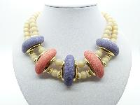 Vintage 60s Purple Pink and Cream Two Row Plastic Bead Collar Necklace