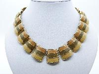 Vintage 30s Wide Orange Olive and Yellow Enamel Goldtone Collar Necklace