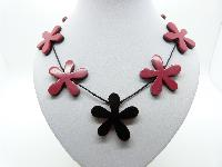 £14.00 - Versatile Reddish Pink and Black Acrylic Flower Power Reversible Necklace