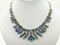 Vintage 50s Amazing AB Blue Sparkling Diamante Tassel Drop Necklace
