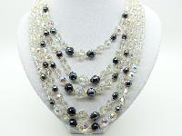Vintage 50s Breathtaking 5 Row AB Crystal Glass and Hematite Bead Necklace