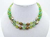 Vintage 50s Pretty Two Row Green and Brown Glass Bead Necklace