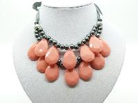 £13.00 - Stunning Orange and Grey Bead Double Row Dropper Necklace Grey Ribbon Tie