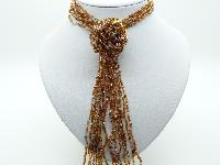 £14.00 - Fab Long Multi Strand Gold and Clear Glass Seed Bead Flower Tassel Necklace