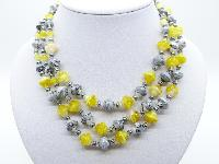 Vintage 50s Three Row Yellow and Grey Swirl Murano Glass Bead Necklace