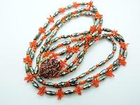 Vintage 50s Three Row Orange Coral Twig Grey Glass Bead Necklace Fab Clasp