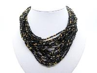 £24.00 - Vintage 50s Fab Black and Gold Seed Glass Bead Multi Strand Twist Necklace