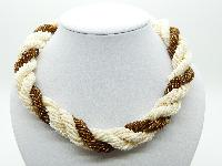 Vintage 50s Three Row Cream Brown Bugle Glass Bead Statement Twist Necklace