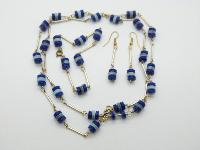 Vintage 60s Two Tone Blue Rondel Bead Necklace Bracelet and Earring Set