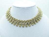 Vintage 60s Signed Corocraft Wide Goldtone Fancy Link Collar Necklace