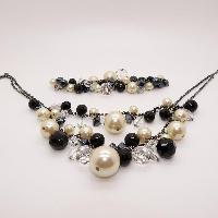 Coast Black Beads Crystals and Pearl Necklace and Bracelet Set