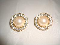 £19.20 - 1980s Round Faux Pearl & Diamante Clip On Gold Earrings