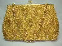 £38.40 - Vintage 1950s Fabulous Quality Gold Glass Bead Evening Handbag
