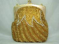 Vintage 50s AMAZING Gold Bead  Diamante Evening Handbag