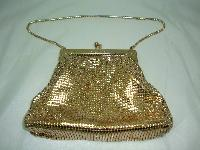 £72.00 - Vintage 70s Glomesh Gold Metal Mesh Evening Handbag