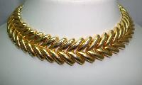 50s Signed Heavy Fancy Link Gold Articulated Collar Designer Necklace