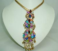 Colourful Diamante & Lucite 3 Circles Flower Dangle Pendant and Chain