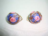 1930s Blue Pink and Gold Venetian Glass Wedding Cake Clip on Earrings