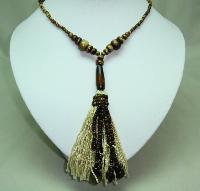 Vintage Art Deco Brown Amber Glass Bead FlapperTassel Sautoir Necklace