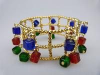 Fab 1960s WideTextured Red Green Blue Glass Dangle Charm Gold Bracelet