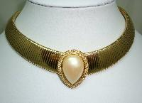 £32.00 - 1980s Wide Flexible Faux Pearl Diamante Cleopatra Collar Gold Necklace