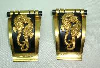 Vintage 30s Jean Painleve French Bakelite Seahorse Black Gold Dress Clips