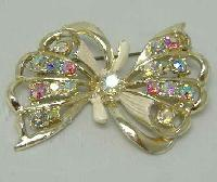 Vintage 50s Signed Hollywood Sparkling AB Diamante Enamel Bow Brooch