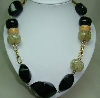 Signed Jaeger Contemporary Chunky Black Taupe Bead Gold Chain Necklace