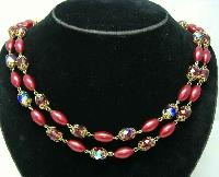 1950s 2  Row Red AB Crystal Glass & Pearl Bead Necklace