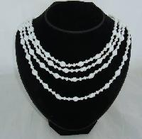 Vintage 50s Graduating Four Row White Glass Twist Bead Necklace WOW