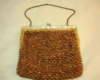 £33.60 - Vintage 50s Super Amber Gold Bead Lucite Frame Evening Handbag Fab!