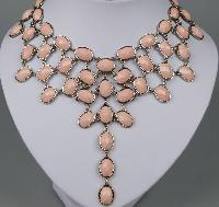 £29.60 - Amazing 1960s Style Festoon Bib Drop Pink Lucite Silver Link Necklace