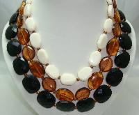 Vintage 50s Style 3 Row Chunky Black Amber Cream Bead Necklace