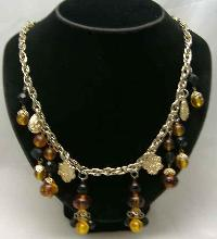 1950s Citrine Glass Lucite Bead Dangle Drop Necklace