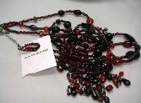 £12.00 - Warehouse 30s Style 3 Row Red Black Glass Bead Flapper Necklace New!