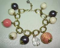 Vintage 50s Style Chunky Cream Pink Purple Glass Bead Charm Bracelet