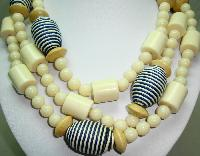 Fabulous Contemporary Chunky Cream Lucite and Navy Bead Long Necklace