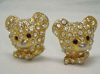 £12.00 - Vintage 80sTeddy Bear Head Diamante Clip On Earrings