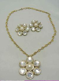 80s Diamante & Pearl Flower Necklace Brooch & Earrings