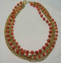 30s Multi Row Cornelian Glass Bead Gold Chain Necklace