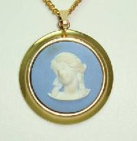 Wedgwood Blue Jasper  Cameo Gold Plated Pendant and Chain Original Box