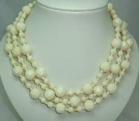 1950s Chunky 3 Row Cream Honeycomb Lucite Bead Necklace