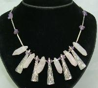 Stunning Contemporary Modernist Silver & Rose Quartz Necklace