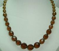 £14.40 - 1950s Graduating Smokey Quartz Glass Bead Necklace WOW