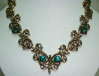 1950s Signed Jewelcraft Ornate Sparkling Green Diamante Gold Necklace